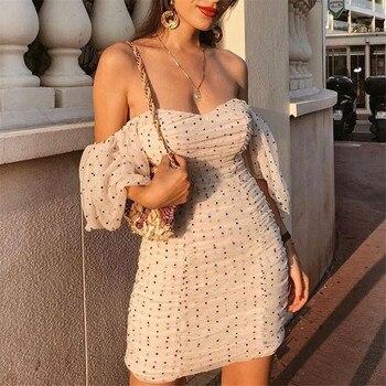 Women elegant slim fit V neck mini dress polka dots short puff sleeve back zipper female 2019 casual stylish sheath dresses mini asymmetrical zipper sheath dress
