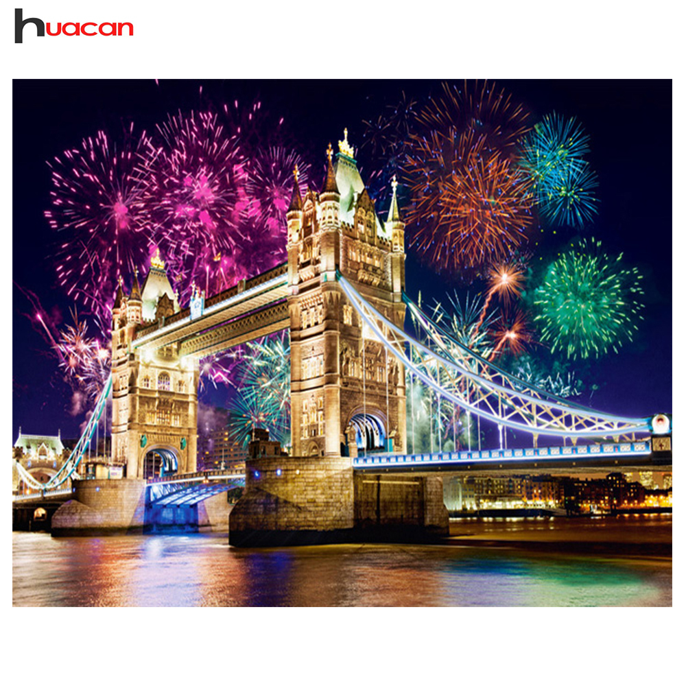 Huacan Diamond Painting Night Scenic Diamond Embroidery იყიდება London Home DecorCross Stitch Full Square Diamond მოზაიკის ხიდი