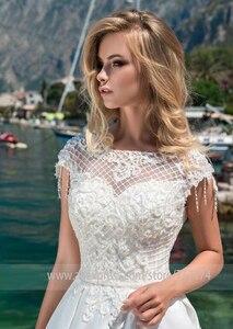 Image 4 - Женское атласное свадебное платье junoвам, ТРАПЕЦИЕВИДНОЕ ПЛАТЬЕ со шлейфом и бусинами, свадебное платье с О образным вырезом