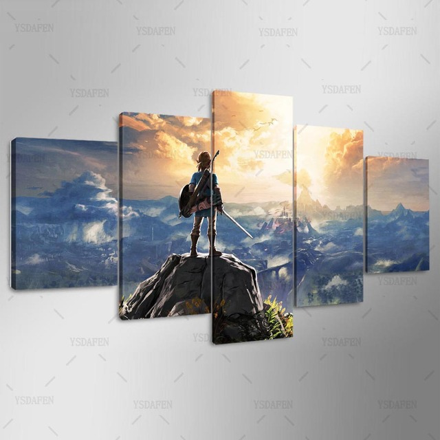 Canvas Painting Wall Pictures 5 Panel Game Wall Art Legend Of Zelda Poster For Living Room Home Decor Modular Pictures Frames 1