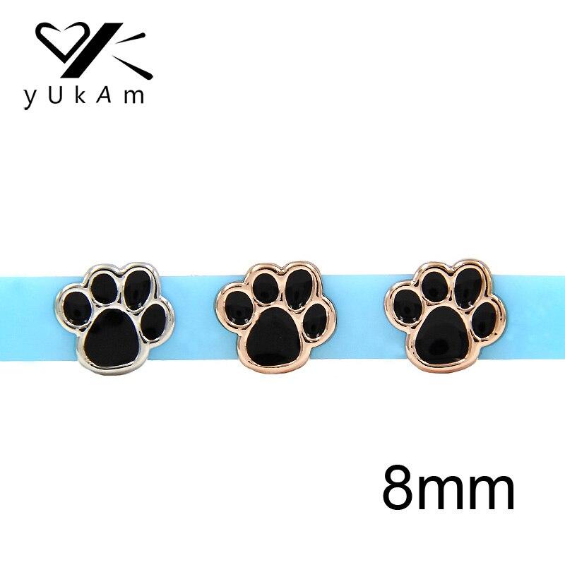Wholesale 5pcs 8 mm Fleur Slide Charm Fit Pet nom Collier Bracelet SL467