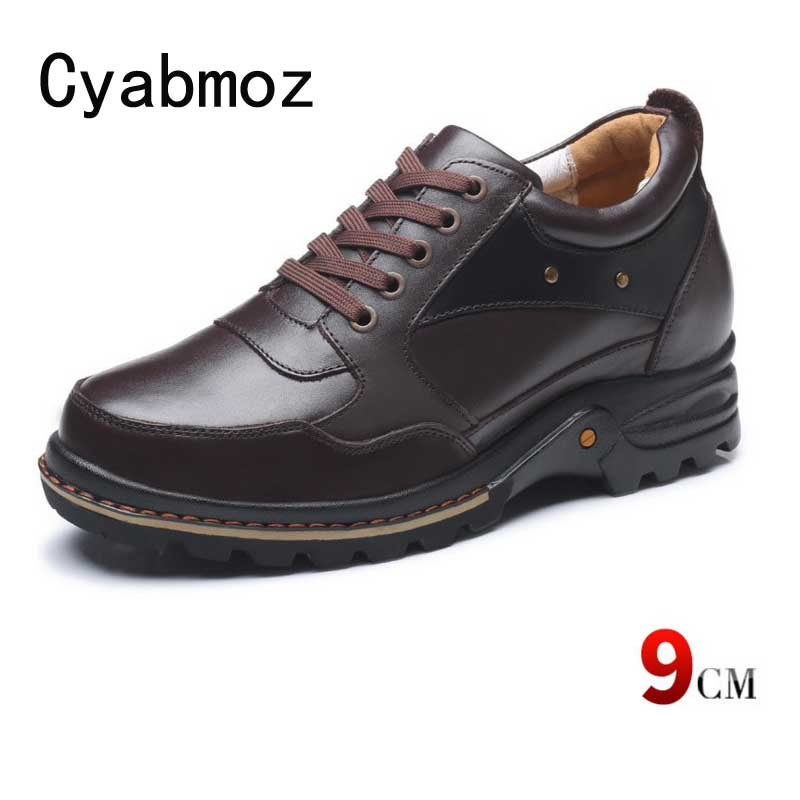 778d709fb13 100% Genuine Leather Height Increasing Elevator Shoes with Hidden Insole  Elevated Men Taller 9 cm