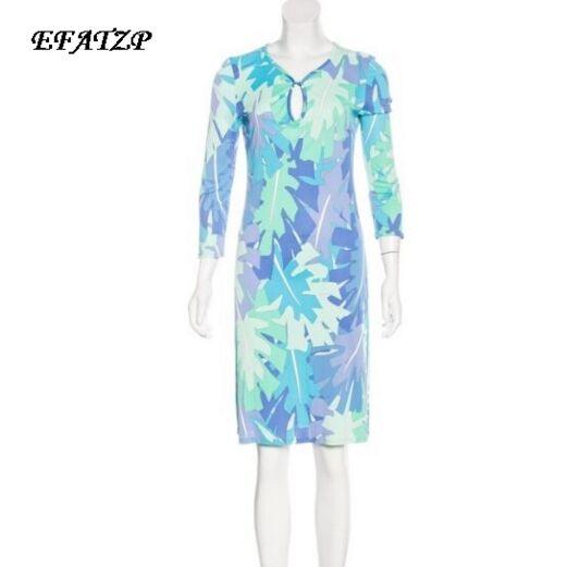 Nowy 2017 moda jesień projektant marki sukienka damska dekolt w kształcie litery v niebieski druku 3/4 rękawy XXL Stretch Jersey cienki jedwab dzień sukienka w Suknie od Odzież damska na  Grupa 1