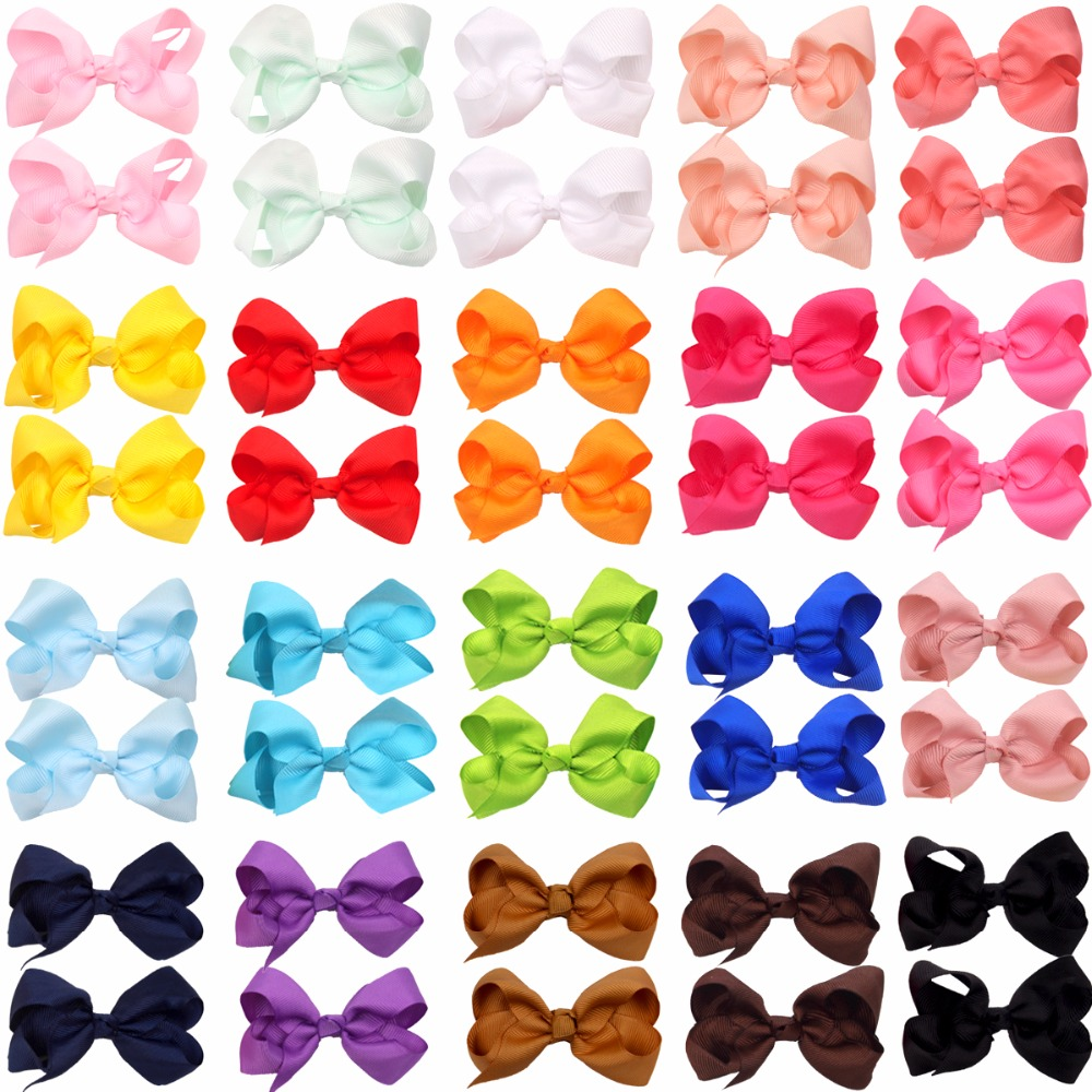 40Pcs 3 Inch  Baby Girl Solid Ribbon Hair Bows Alligator Clips For Toddlers,Kids,Children