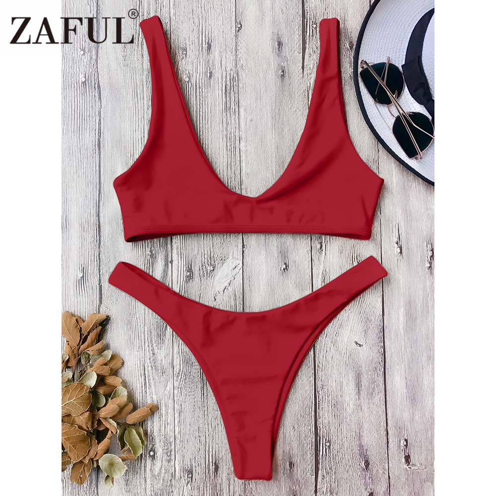 Zaful Sexy Women High Cut Scoop Neck Bikini Set Swimwear Low Waisted Bralette Solid Color Swimsuit Bathing Suit Brazilian Bikini