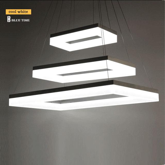 40 CM 60 CM 80 CM Acrilico Lampadari Moderni LED Rettangolo Anelli Luminosi LED  Lampadario Per
