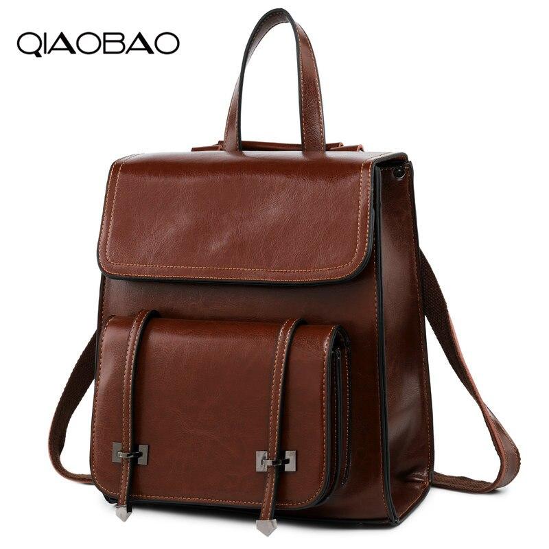QIAOBAO GENUINE LEATHER Fashion Women Backpack Girl Student School Bag Double-Shoulder Bag Women Casual Back Packs Travel Bag