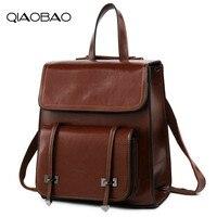 QIAOBAO GENUINE LEATHER Fashion Women Backpack Girl Student School Bag Double Shoulder Bag Women Casual Back Packs Travel Bag
