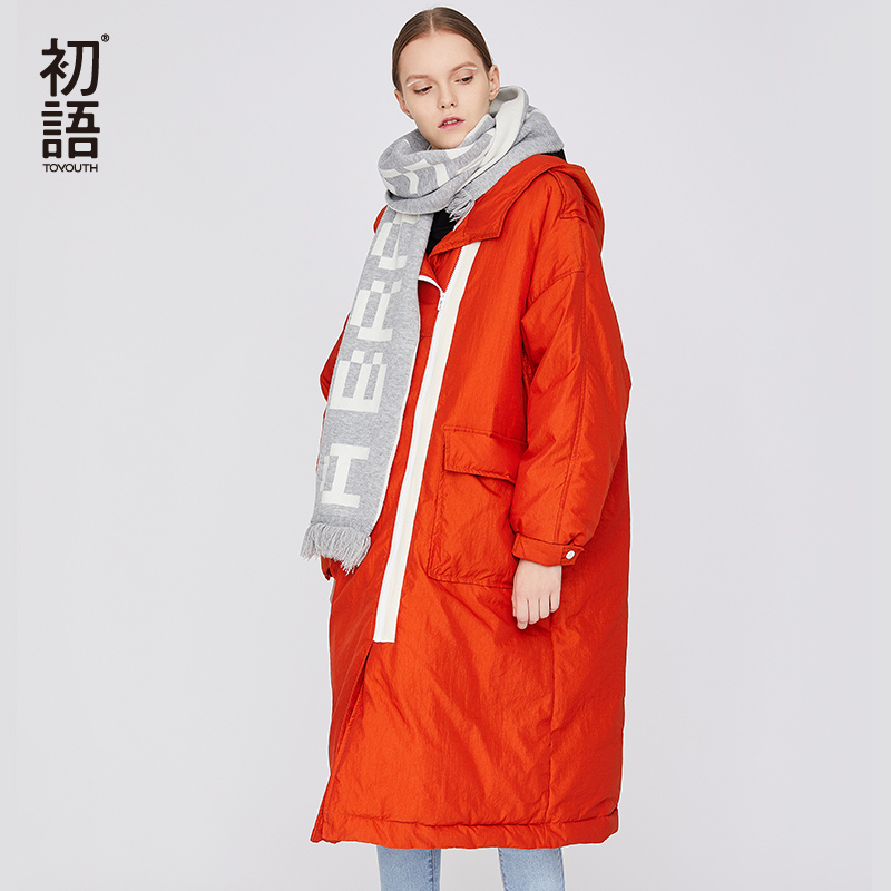 Toyouth Long Hooded Ladies Parka Coat Women Winter Harajuku Coats Thickening Warm Mujer Parka Long Sleeve