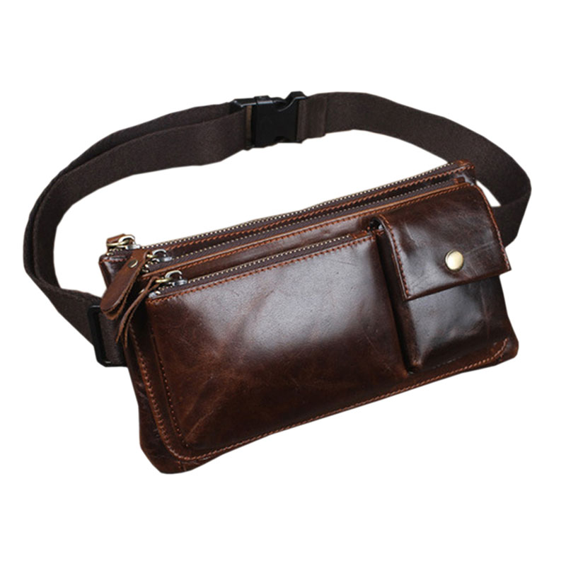 Men Oil Wax Leather Cowhide Vintage  Hip Bum Belt Pouch Fanny Pack Waist Wallet Purse Clutch Bag Travel Motorcycle Bags