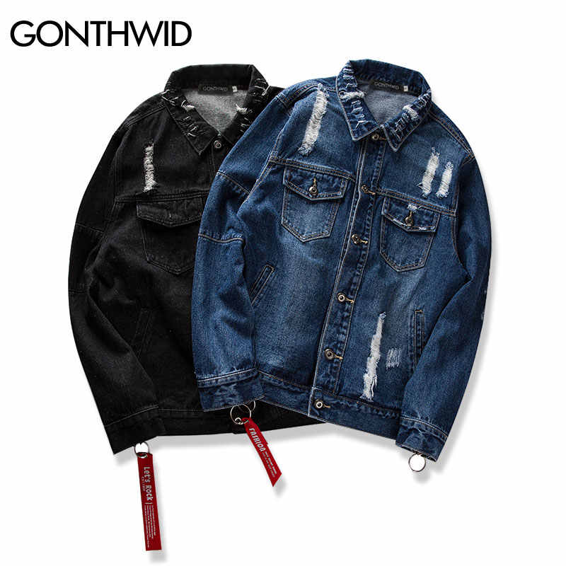 a27960b5fad ... GONTHWID Distressed Ripped Denim Jacket Mens Hip Hop Printed Denim  Jackets Male Fashion Ribbon Jeans Coats ...