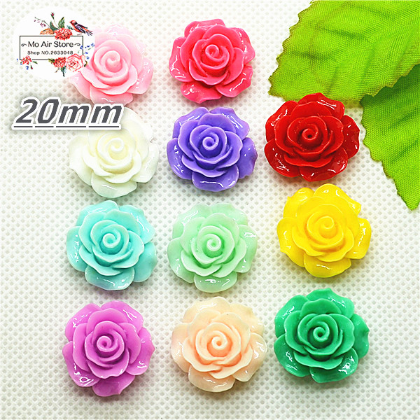 50pcs 20mm Mixed Color Camellia Resin Flatback Cabochon DIY Jewelry/phone Decoration No Hole