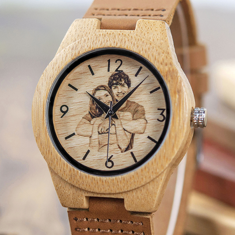 BOBO BIRD Creative Gift Wood Watch Men Women Photos UV Printing on Wooden Watch OEM Customized