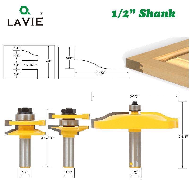 LAVIE 3pcs/set 12mm 1/2 Shank Door Panel Cabinet Tenon Router Bit Set Milling Cutter For Woodworking Cutters Cutting Tools 03016|tenon router|tenon router bit|tenon cutter set - title=