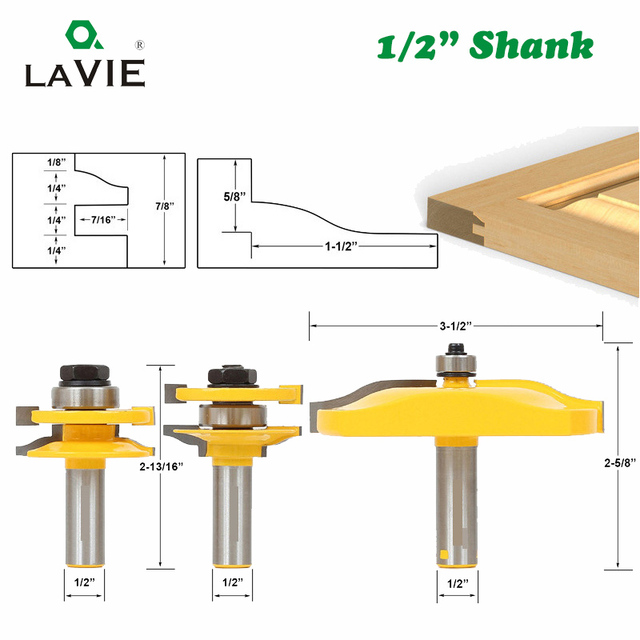 LAVIE 3pcs/set 12mm 1/2 Shank Door Panel Cabinet Tenon Router Bit Set Milling Cutter For Woodworking Cutters Cutting Tools 03016