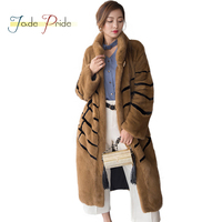 Jade Pride 2017 Vogue Palace Mink Fur Coat Women Winter Mandarin Collar Full Sleeve Long Fur Parka Diamond Button Striped Jacket