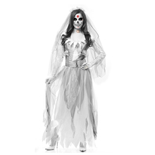 Halloween Dress Zombie Bride Dress Horror Devil Ghost Bride Dress Halloween Costumes for Women Scary Fancy Party Dresses Outfit 2019 halloween costumes for women vampire zombie devil party performance dress veil set halloween scary cosplay outfit set