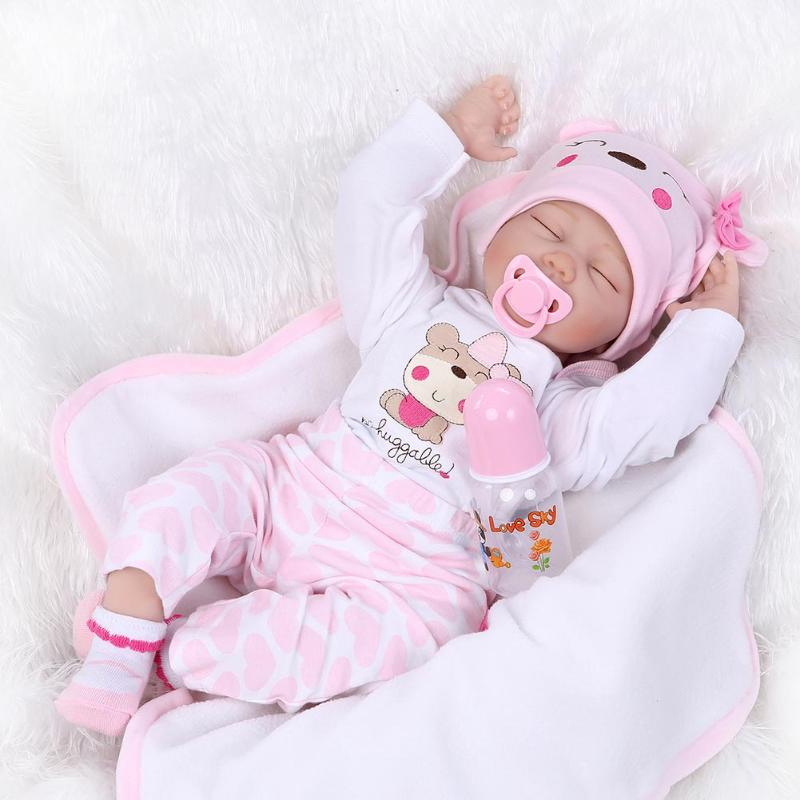 55CM Soft Silicone Doll Simulation Cute Reborn Doll Baby Toys Artificial Kids Cloth Baby Doll for Children Newborn Girls Gift npkcollection55cm soft silicone newborn baby doll with eyes closed simulation to accompany sleep toys silicone reborn baby doll