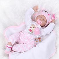 55CM Soft Silicone Doll Simulation Cute Reborn Doll Baby Toys Artificial Kids Cloth Baby Doll for Children Newborn Girls Gift