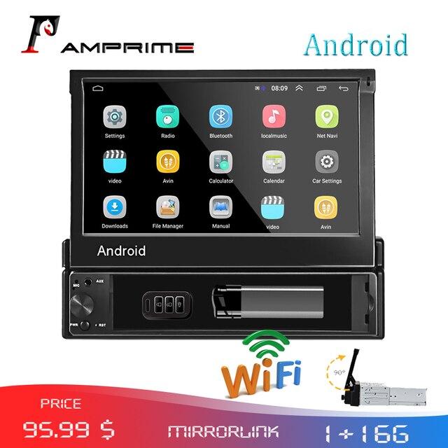 AMPrime 1din Autoradio Android wifi Car Multimedia di Navigazione GPS Autoradio Bluetooth Stereo Radio FM AUX USB Auto lettore Audio