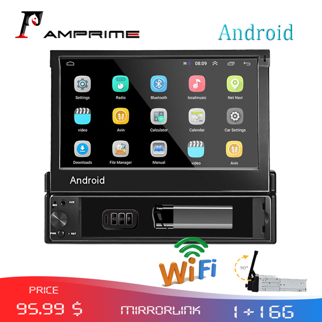 Amprime 1din 자동차 라디오 안드로이드 와이파이 자동차 멀티미디어 gps 네비게이션 autoradio 블루투스 스테레오 라디오 fm aux usb 자동 오디오 플레이어
