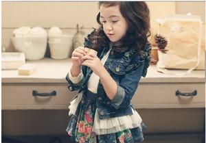 Image 2 - 女の子の上着ベビー服 2019 秋冬のファッションのレース裾幼児子供デニムジャケット長袖フリルガールジーンズコート