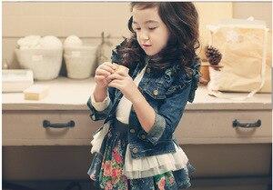 Image 2 - Veste dautomne hiver pour bébés filles, manteau Jean Denim à manches longues, à volants, avec ourlet en dentelle, à la mode, vêtement dextérieur pour filles