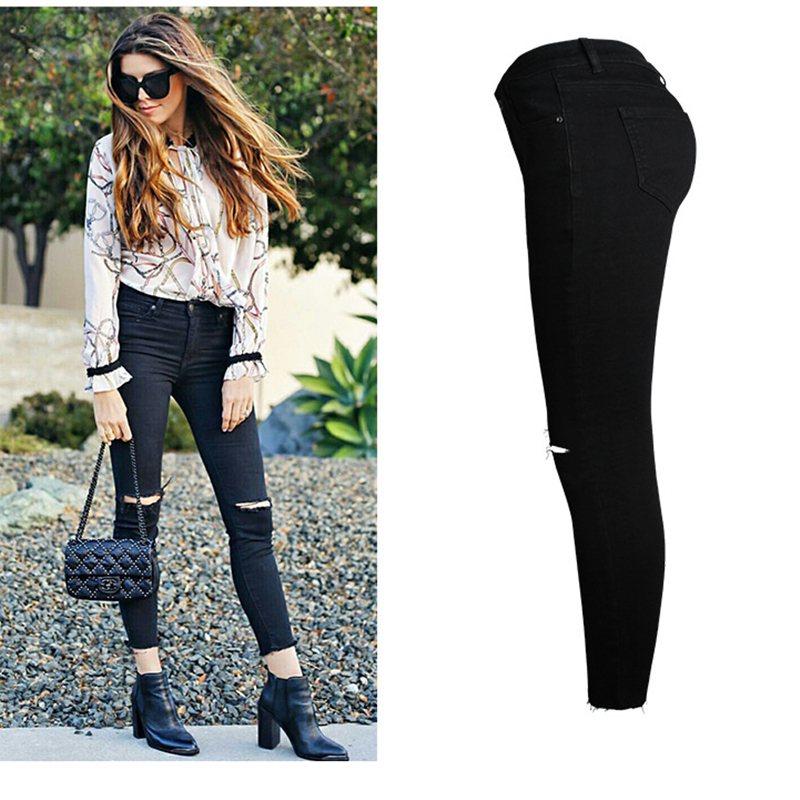 Black Denim Trousers Jeans Skinny Elastic Woman Women Vaqueros Womens Pencil Hole Am071 For Jean Mujer Ripped Pants rArvq1O
