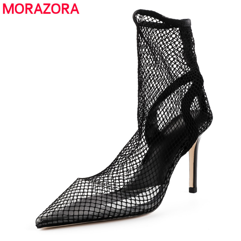 MORAZORA 2018 New high quality mesh cut outs summer boots pointed toe high heels sexy ankle boots for women Nightclub shoes morazora 2018 new high quality cut outs women s summer boots high heels knee high women sandals solid color ladies shoes woman