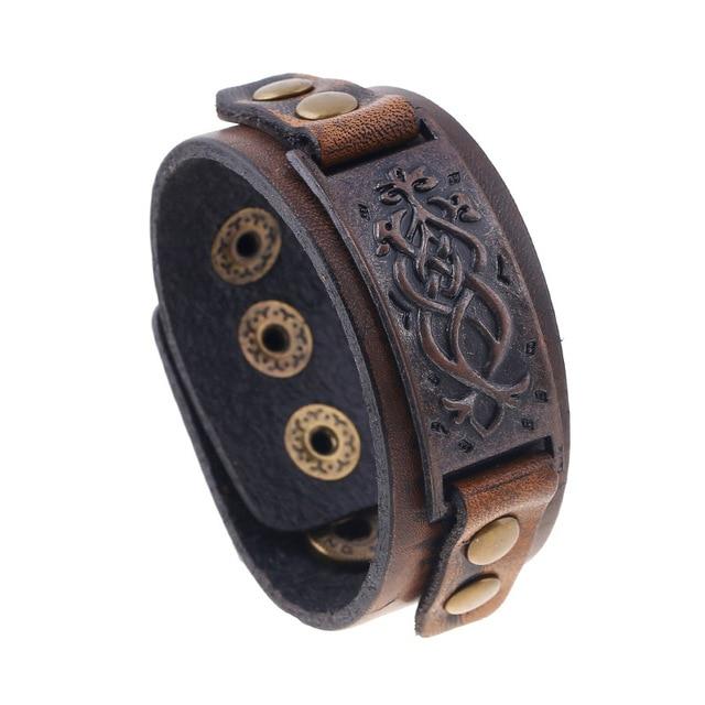 Nam Cow Leather Bracelets Biker Trang Sức Nam Vòng Đeo Tay Retro Brown Bangles Wristband Người Đàn Ông Trang Sức Alloy Buckle 22 cm Có Thể Điều Chỉnh
