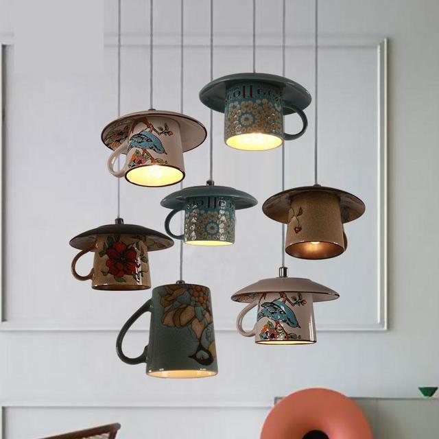 Character Originality Pendant Lamp Living Room Restaurant Corridor Lamps Coffee Cup Light Retro Lighting
