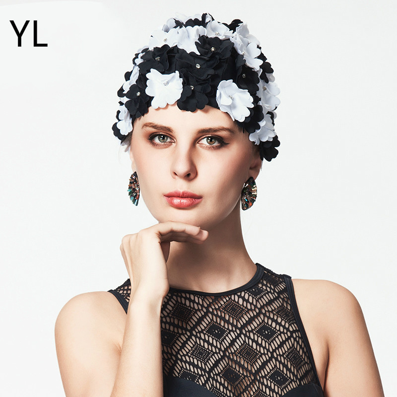 Hot Brand 2018 black Arrival Flower Swim <font><b>Cap</b></font> For Women Swimming Hat For Long Hair Flowers Crystal Bath <font><b>Caps</b></font> <font><b>Sexy</b></font> Swimming <font><b>Caps</b></font> image