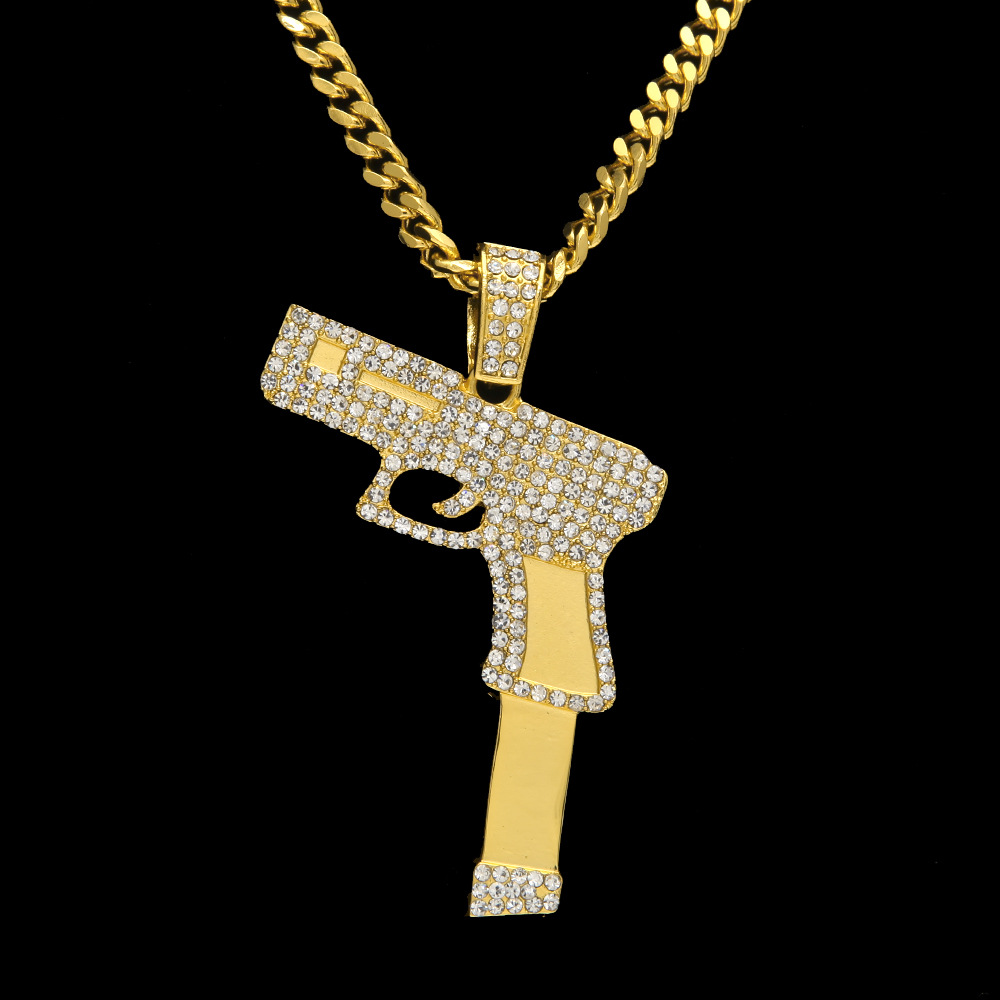 2017 new bling bling gold silver plated hip hop pistol for Bling jewelry coupon code