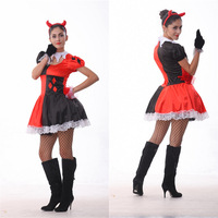Woman Halloween Circus clown droll Costume Devil Cosplay Demon Role play Carnival Festival parade stage show Masquerade dress