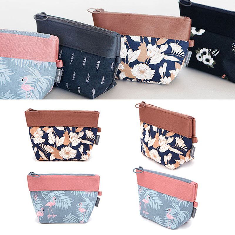 Women Storage Bag Canvas Fashion Flowers Leaves Flamingos Printed Coin Purse Lady Clutch Bag Sewing Kit Girl Makeup Bags LT88
