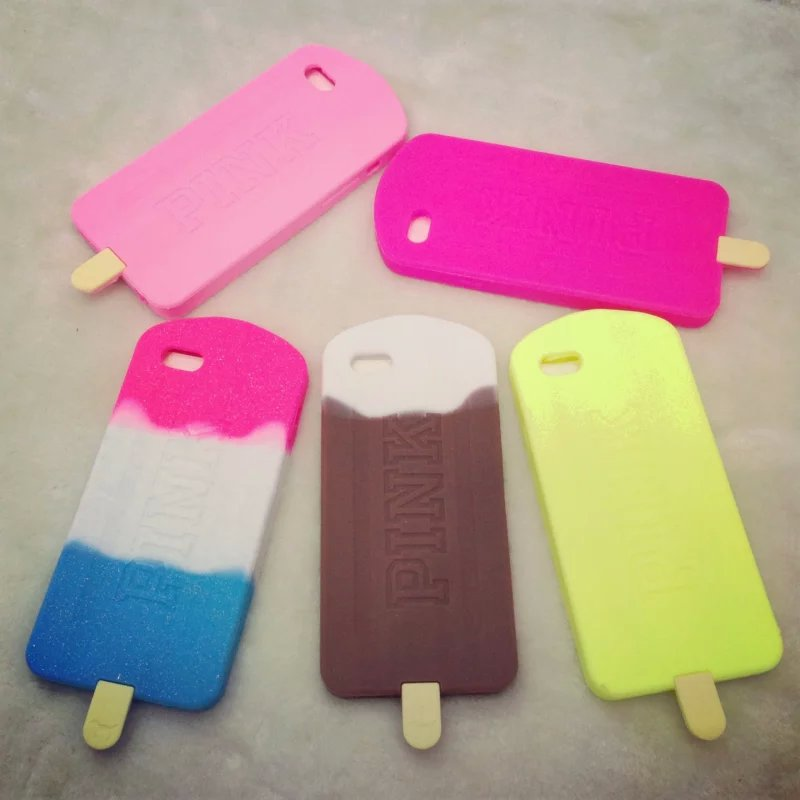 low priced 6c0c6 7aee5 US $5.58 |2015 New Victoria/s Secret Pink Icecream Phone Case Coque For  iPhone 6 6G Bound Rainbow Popsicle Silicone Rubber Back Cover Capa on ...