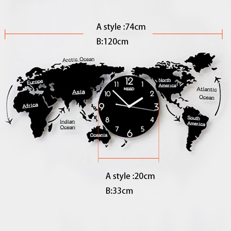 Creative mute world map shape personality wall clock home needle creative mute world map shape personality wall clock home needle digital quartz wall watch fashion decoration clock family gifts in wall clocks from home gumiabroncs Image collections