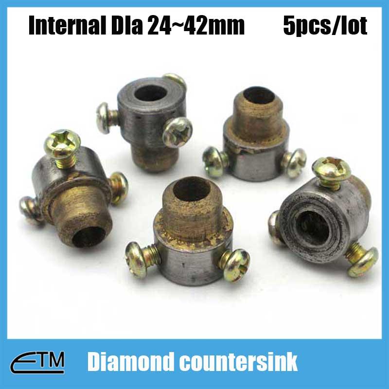 5pcs Sintered diamond countersink for glass countering match with drill bit Diameter 24~42mm tool zt012