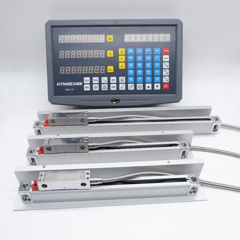 3 axes DRO Lecture Numérique SNS-3V Nouvelle Couleur Panneau et 3 pièces 0.005mm TTL EIA-422-A Numérique Échelle de verre Linéaire capteur de codeur