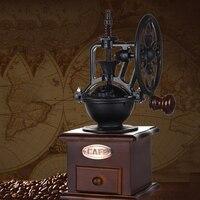 Ручная кофейная мельница для табака, кофемолка, Античный Чугун, ручная мельница для кофе с измельченными настройками и ящиком для ловли