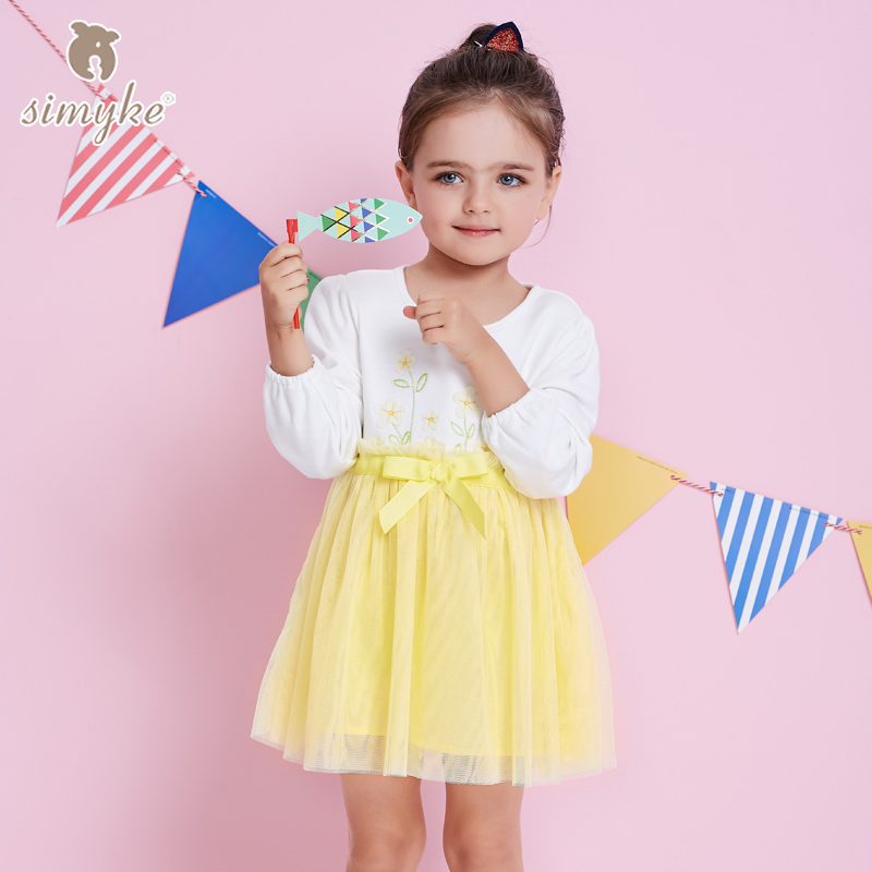 Simyke Kids Princess Tutu Dresses For Girl 2017 New Spring Girls Long Sleeve Mesh Dress Toddler Costume Child Clothes W8310 star dress for girl european style bow tutu dress long sleeve mesh girls dresses leisure holiday kids clothes pink black