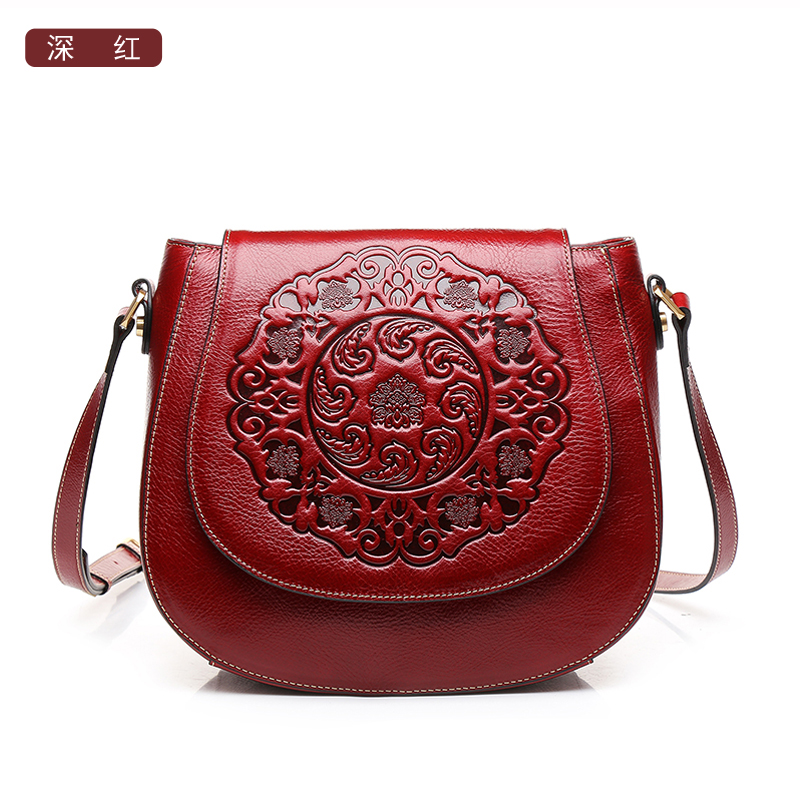 03be8d4f91e3 High quality Chinese style Genuine leather flower pattern fashion women  handbag name brand Vintage shoulder Messenger Bag -in Shoulder Bags from  Luggage ...