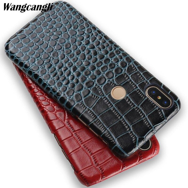 Nouveau crocodile texture téléphone cas pour xiaomi redmi 4x Véritable en cuir demi-pack mobile téléphone cas pour xiaomi redmi note 5 cas