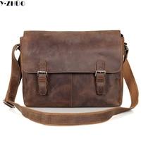 15 Man Bag Crazy Horse Leather Shoulder Bag Vintage Genuine Cowhide Leather Men Messenger Bags Business