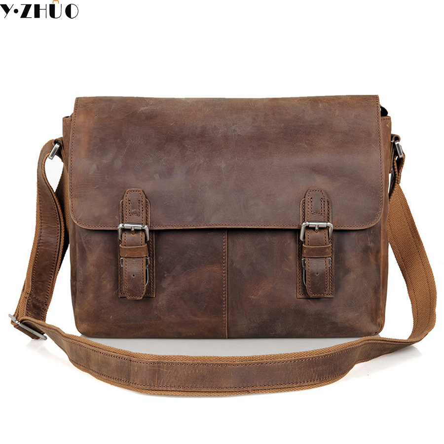 Man bag crazy horse leather shoulder s