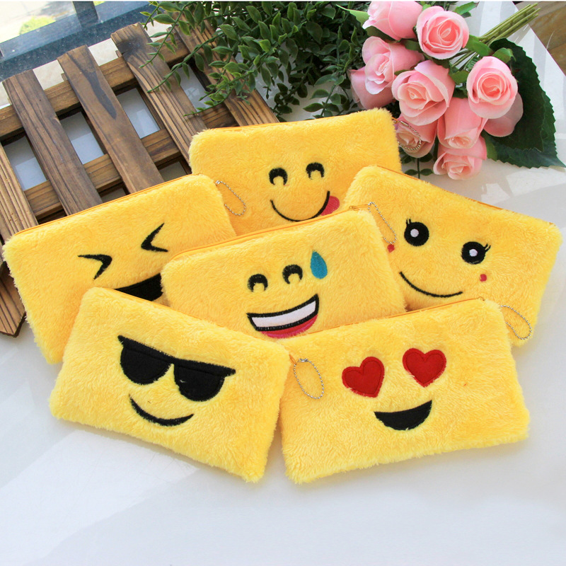 Cartoon Emoji Purses Kids Girls Coin Bag Children Small Wallet Plush Card Holder Key Pouch Money Pocket Students Pencil Case