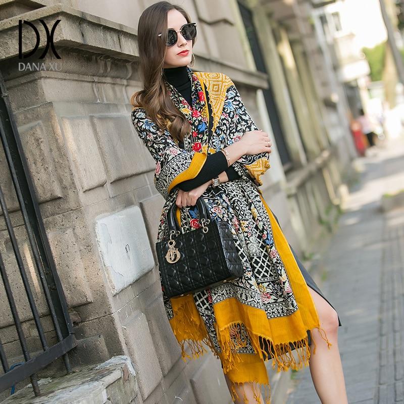 DANA XU 2019 Jenama Mewah Baru 100% Wool Pashmina Kuning Foulard Femme Bufanda Mujer Bandana Wanita Scarf Wanita Selendang