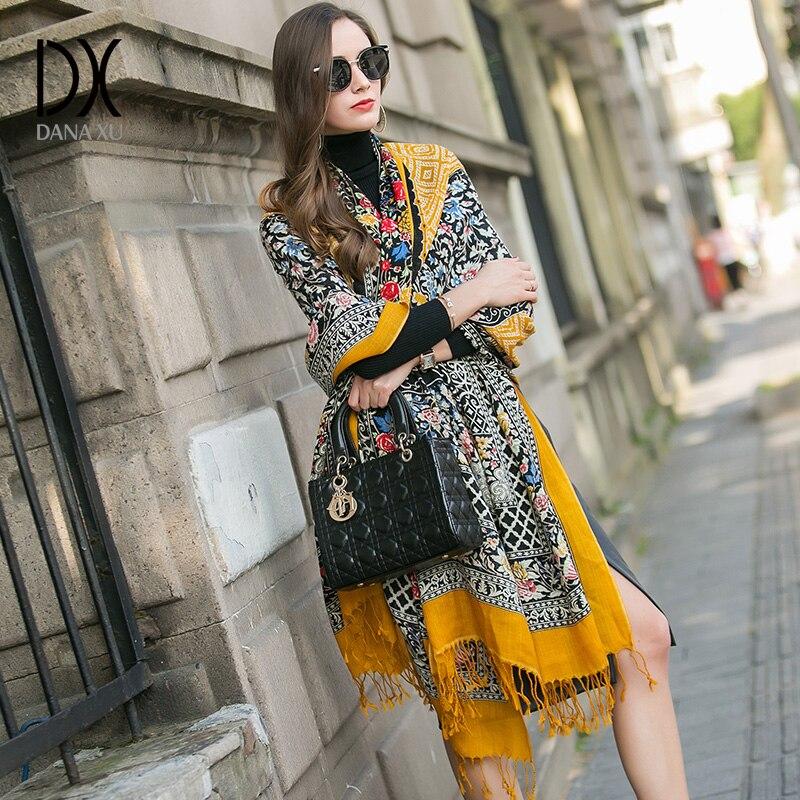 DANA XU 2019 nouvelle marque de luxe Oversize 100% laine jaune pashmina Foulard Femme Bufanda Mujer Bandana femmes écharpe femmes châle