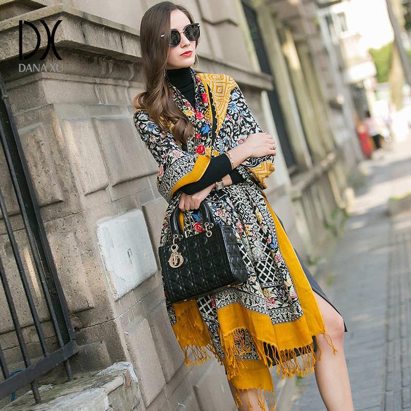 DANA XU 2019 nueva marca de lujo Oversize 100% lana amarilla pashmina Foulard Mujer Bufanda Mujer Bandana Mujer Bufanda Mujer chal