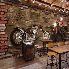 Free Shipping Internet cafes 3D Vintage Motorcycle car wood brick wall mural of European retro Cafe wallpaper цена 2017